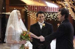 joey celebrando o casamento de phoebe